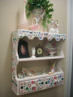 mosaic shelf by cottageqt, via Flickr