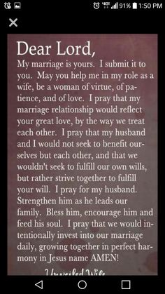 This has always been my desire Lord for my marriage. Please work in our marriage and in my husband and I. I love you Jesus! Prayer For My Marriage, Prayer For Married Couples, Prayer For Wife, Praying Wife, Godly Marriage, Marriage Relationship, My Prayer, Happy Marriage, Marriage Advice