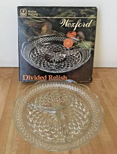 Vintage Anchor Hocking Wexford 3 Part Divided Glass Relish Serving Dish NEW #AnchorHocking