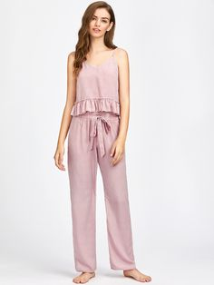 Shop Frill Trim Striped Cami And Belted Pants Pajama Set online. SheIn offers Frill Trim Striped Cami And Belted Pants Pajama Set & more to fit your fashionable needs. - Pajama Sets - Ideas of Pajama Sets Satin Pyjama Set, Satin Pajamas, Pajama Set, Pajamas For Teens, Pajamas Women, Cozy Pajamas, Pyjamas, Tartan Pants, Womens Pyjama Sets