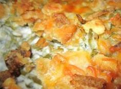 Beyond Yummy Green Bean Casserole Recipe | Just A Pinch Recipes...could make healthier with reduced fat cheese and light sour cream