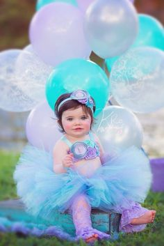 Lavender, Aqua, Mint Tutu, Top & Headband- Birthday, 1st birthday, Mermaid, Ocean, Girl, Newborn, Infant, cake smash, photo prop on Etsy, $49.95
