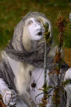 OOAK Ghost Art Doll The Beggar Old Beggar Woman by MountainDolls