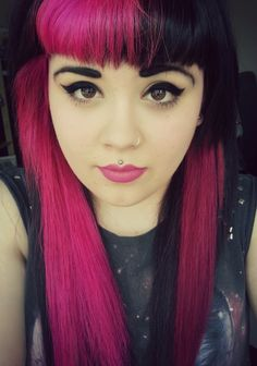 Contrast bangs. Black and hot pink/fuchsia/cerise. Alernative hair style.