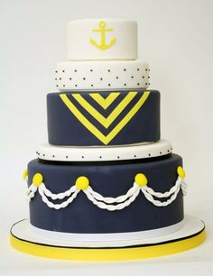 #Nautical wedding cake #wedding   #Preppy #Wedding ... Wedding ideas for brides, grooms, parents & planners ... https://itunes.apple.com/us/app/the-gold-wedding-planner/id498112599?ls=1=8 … plus how to organise an entire wedding, without overspending ♥ The Gold Wedding Planner iPhone App ♥.
