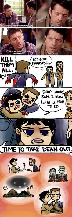 """I don't ship Destiel, but this is still funny. """"Take me out""""..haha but I don't think that's exactly what he meant Cas..."""