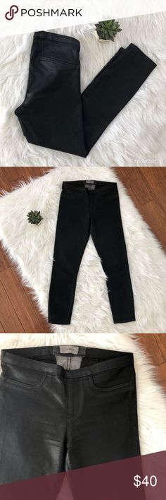 Helmut Lang Black Coated Skinny Pant 26 Black coated skinny pants. Pull-on style. Good condition, size 26. Helmut Lang Pants Skinny
