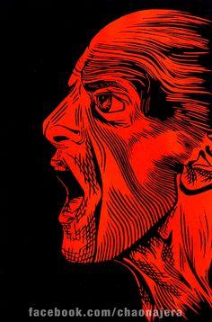 Grito en Rojo, Linóleo sobre cartulina opalina, 30 cm x 20 cm, $100.°°, No esta enmarcado