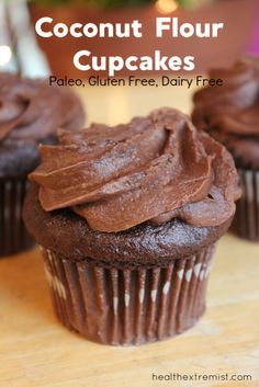 These coconut flour chocolate cupcakes are a great healthy dessert! They are soft, flufy and delicious! The cupcakes are paleo, gluten free, and dairy free. Paleo Dessert, Gluten Free Desserts, Dessert Recipes, Paleo Recipes, Free Recipes, Healthy Cupcake Recipes, Diabetic Snacks, Lunch Recipes, Healthy Food