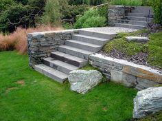 detail of basalt step unit and planting