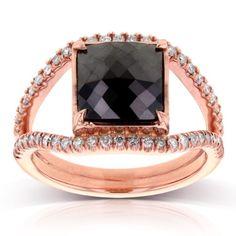 Princess Cut Black Diamond Ring 4 CTW in 14k Rose Gold, Women's, Size: 6.5