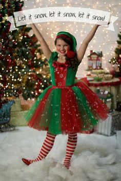 Let it snow, let it snow, let it snow! Christmas Elf Tutu Dress Costume by Ella Dynae, $180.00 #holiday #gift #present #santa  https://www.etsy.com/listing/168579225/christmas-elf-tutu-dress?ref=shop_home_feat
