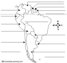 South America map with blank labels