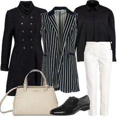 Pantaloni bianchi e camicia nera da indossare con un gilet lungo a righe. Sopra si può aggiungere un cappotto in stile militare con doppia fila di bottoni. Le scarpe sono delle stringate nere, mentre la borsa a bauletto è chiara.