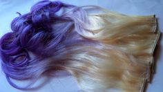 Purple and Blonde Ombre Fade Dip Dye Clip in from damnationhair.com