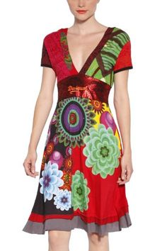 Desigual Women's Fashion Multi Color Dress Oslo 30v2830
