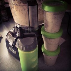 Smoothies. I make them on Sunday for the week ahead by freezing them in Ball Plastic Freezer Jars. Then all I have to do is grab one out in the morning and I have a healthy & delicious drink/ snack.