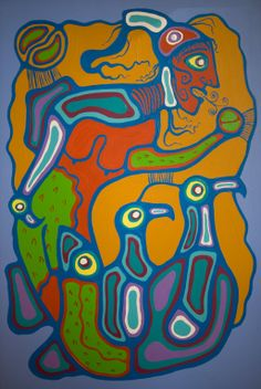 Art for sale from artist Norval Morrisseau - Merman conjuring Original Paintings. Native Indian, Native Art, Native American Art, Woodlands School, Indian Artist, Merman, Indigenous Art, Canadian Artists, Art Themes