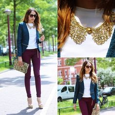 Again: white top, different colored outerwear (blazer, in this case) and gold statement jewelry.