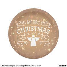 Christmas angel, sparkling stars paper plate
