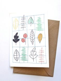 Card  leafs by kimslittlemonsters on Etsy, €2.95