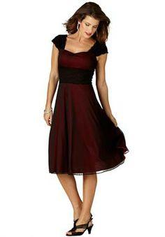 Fit and Flare Lace Trim Dress | Plus Size Evening Dresses | Roamans