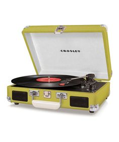 Love this color! Am thinking it might be time to ask my mom to send me some of her old records... :: Green Cruiser Turntable by Crosley on #zulily today!