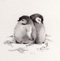 Baby Penguins aquarel schildering