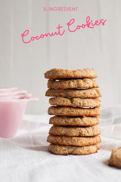Vegan and gluten-free coconut cookies are made with only 3 ingredients! No added sugar. #healthybaking #cookies #glutenfreecookies