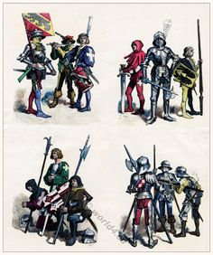 Swiss military costumes in XV. Century. Medieval Clothing. Middle Ages soldiers.