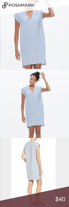"1 Hour Sale! Madewell Vacances Stripe Shift Dress Like New!  Madewell Vacances Blue & white Shift Dress.  V-Neck.  This is a great dress for spring and summer.  Throw over a swim suit or pair with a pair of sandals.  Easy and comfortable.  XS but may also for a small.  Please check measurements.  Length measures approx 33"".  Bust measures 18"" straight across the front. Madewell Dresses Mini"