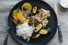 Roasted chicken thighs and zucchini with orange salad and rice recipe, Bite – visit Eat Well for New Zealand recipes using local ingredients - Eat Well (formerly Bite) Roasted Chicken Thighs, Orange Salad, Orange Slices, Gluten Free Chicken, Serving Platters, Rice Recipes, Recipe Using, Tray Bakes, Tandoori Chicken