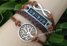 infinity Tree bracelet,believe bracelet,Infinity bracelet,Black bracelet,Best Gift Best Friend,Personalized,leather bracelet,charm jewelry on Wanelo