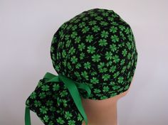 Lucky Clover Ponytail - Womens lined surgical scrub cap 7dcbca0ddb7a