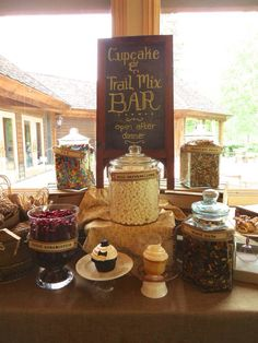 Cupcake and Trail Mix Bar-Luxe Lodge Wedding by Designed Sealed and Delivered Find us on Facebook!