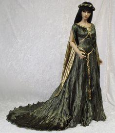 Green and Gold Goddess/Medieval dress