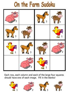 Free printable farm themed sudoku puzzles for preschool, kindergarten and elementary school kids. Farm Animal Crafts, Animal Crafts For Kids, Crafts For Boys, Animals For Kids, Farm Animals, Sudoku Puzzles, Printable Puzzles, Animal Worksheets, Worksheets For Kids