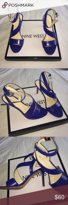 Nine West Heels Super cute faux leather Nine West heels. Beautiful blue color. (True to size) Only worn one time- ships in original box. : open to offers. I ship same or next day. Nine West Shoes Heels