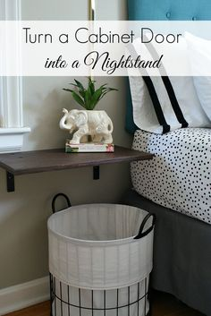 Turn a salvaged cabinet door into a floating nightstand. Via Urban Acreage. #nightstand #upcycled #smallbedroom #diy