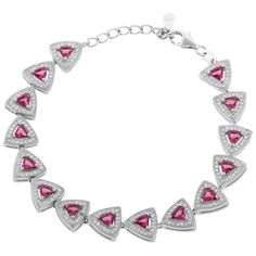 Rosamaria G Frangini | High Pink Jewellery | Define Jewellery Pink Silver American Diamond bracelet for Women