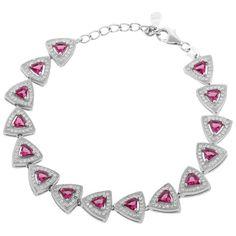 Define Jewellery Pink Silver American Diamond bracelet for Women (DFBC0041)