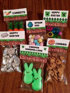 Minecraft Easter Basket Idea Labels and Easter Card Printable #minecraft #easter #creeper Surprise them with Minecraft themed treats in their Easter basket!!