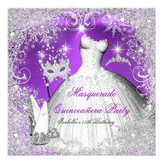 Masquerade Quinceanera Purple Silver Snowflakes Invitation