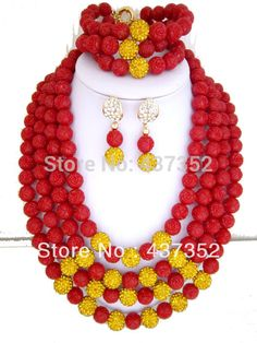 African Nigerian Wedding Jewelry Set Artificial Carved Flower Coral Beads Jewelry Set Necklace Bracelet Clip Earrings CWS-071