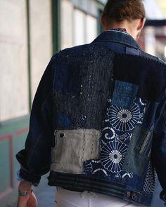 One of a Kind Boro Patched Levi's Denim Jacket Japanese Patchwork, Japanese Sewing, Japanese Fabric, Boro Stitching, Turning Japanese, Power Dressing, Clothing And Textile, Lifestyle Clothing, Vintage Outfits