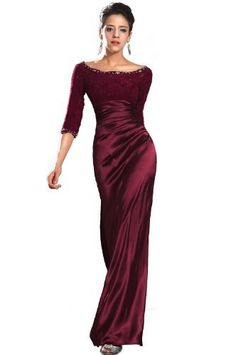 eDressit New Burgundy Lace Sleeves Mother of the Bride Dress (26121817):Amazon:Clothing