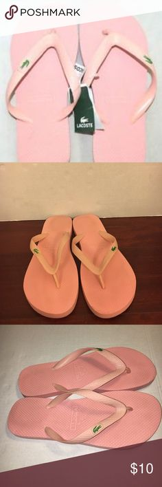Lacoste Flip Flops Gently used pink and green flip flops . Lots of wear left . Make a reasonable offer Lacoste Shoes Sandals