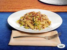 Tortiglioni Barilla Integrali con zucchine, lenticchie e pancetta croccante