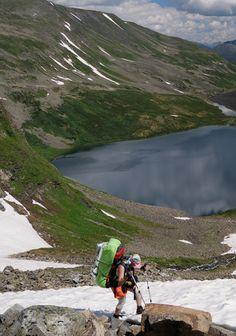 Trekking in Siberian mountains. Valley of Volacnoes, Lake Baikal region.