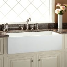 Buy the Signature Hardware 406512 White Direct. Shop for the Signature Hardware 406512 White Risinger Offset Bowl Fireclay Farmhouse Sink with Casement Apron and save. White Farmhouse Sink, Stainless Steel Farmhouse Sink, Fireclay Farmhouse Sink, Copper Farmhouse Sinks, Farmhouse Sink Kitchen, New Kitchen, Kitchen Ideas, Kitchen Sinks, Farmhouse Style